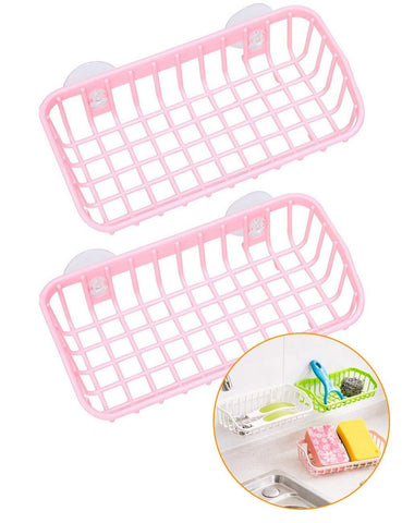 Kitchen Sink Organizer Caddy Bathroom Suction Cup Wall Hanging Storage Rack Bathroom Plastic Double Sucker Water Drying Draining Storage Rack Soap Toothbrush Holder Set of 2 (Pink)