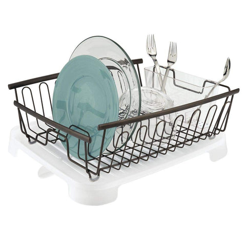mDesign Large Kitchen Countertop, Sink Dish Drying Rack with Removable Cutlery Tray and Drainboard with Swivel Spout - Set of 2 - Silver Wire Drainer/Clear Frost Cutlery Caddy & Drainboard