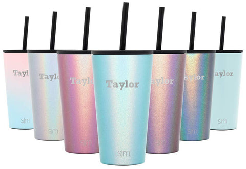 Simple Modern Personalized 16oz Classic Tumbler - Gifts for Men & Women Custom Laser Engraved Name - Vacuum Insulated Travel Mug Cup Shimmer: Aqua Aura