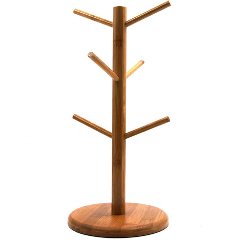 Mug Rack Tree, Removable Bamboo Mug Stand, Storage Coffee Tea Cup Organizer Hanger Holder with 6 Hooks