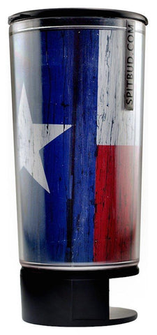 Texas Flag Spit Bud Portable Spittoon with Can Opener: The Ultimate Spill-Proof Spitter by Spitbud