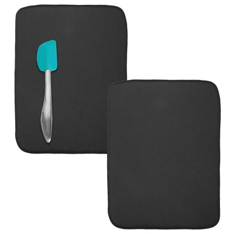 mDesign Ultra Absorbent Reversible Microfiber Dish Drying Mat and Protector for Kitchen Countertops, Sinks - Folds for Compact Storage, Extra Large - 2 Pack - Black/White