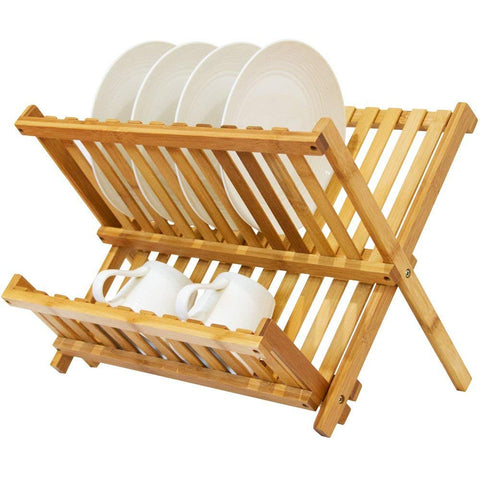 Bamboo Folding Dish Rack, Natural Bamboo [100% Organic] 2-Tier Collapsible Dish Drying Rack; Kitchen Utensil Holder; Wooden Dish Drainer for Dish/Plate/ Bowl/Cup/ Pot Lid