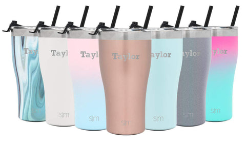 Simple Modern Personalized 22oz Slim Cruiser Tumbler with Straw - Gifts for Men & Women Custom Laser Engraved Name - Vacuum Insulated Travel Mug -Rose Gold