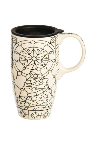 Cypress Home Stained Glass Coloring Book Ceramic Travel Coffee Mug, 17 ounces