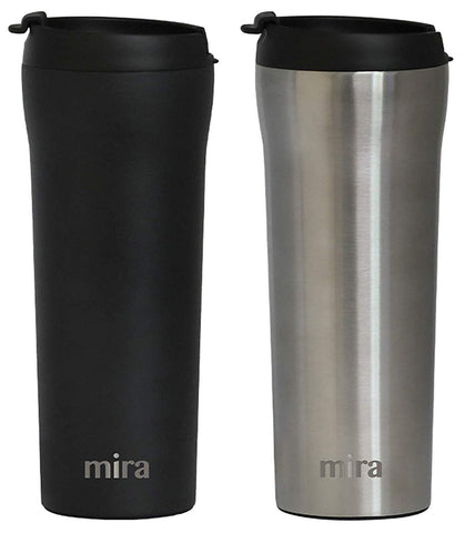 MIRA 16 oz Stainless Steel Insulated Travel Mug with lid | Spill Proof Vacuum Insulated Car Tumbler Cup for Coffee & Tea | Thermos Keeps Drinks Steaming Hot or Ice Cold | 2 Pack