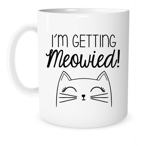I'm Getting Meowied Mug - The Coffee Corner - 11 Ounce White Ceramic Coffee or Tea Mug - Engagement Gift, Gift for Fiancee, Bride Gifts, Bridal Shower Gifts