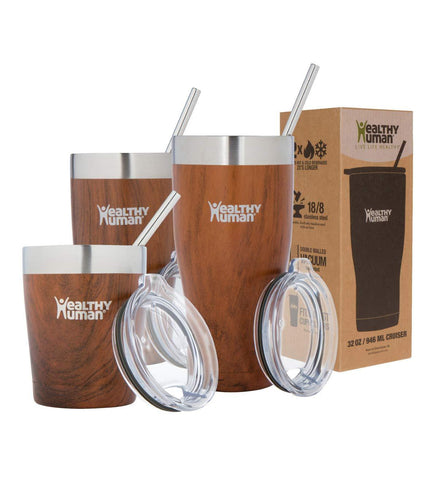 Healthy Human Insulated Tumbler Cruisers with Stainless Steel Straw & Clear Lid - Keeps Hot & Cold Beverages 2 Times Longer - Vacuum Double Walled Thermos 20 oz. Harvest Maple