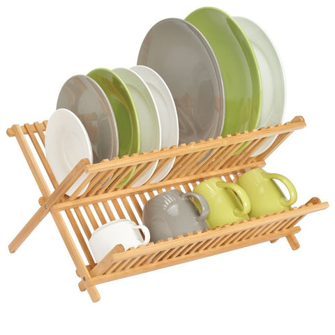 mDesign 100% Bamboo Kitchen Countertop, Sink Dish Drying Rack - Extra Large Capacity, 2 Tiers with 20 Holding Slots for Plates, Bowls, Cups and Mugs - Foldable and Collapsible - Natural Wood Finish