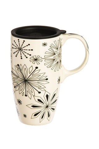 Cypress Home Midnite Snow Coloring Book Ceramic Travel Coffee Mug, 17 ounces