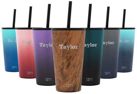 Simple Modern Personalized 24oz Classic Tumbler - Gifts for Men & Women Custom Laser Engraved Name - Vacuum Insulated Travel Mug Cup Pattern: Wood Grain