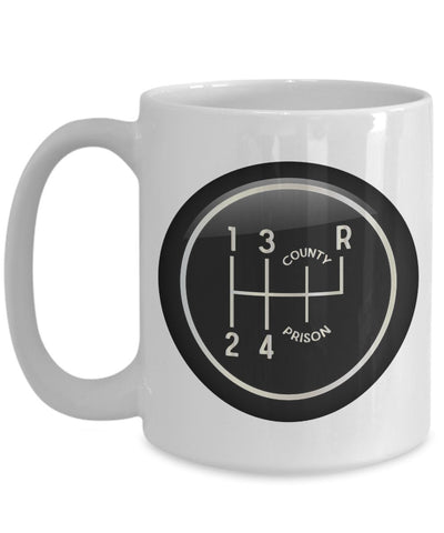 Gear Shift 1-2-3-4-County-Prison 15 oz. Coffee Mug for Classic Car Lovers, Vintage Garage, Street Racers, Car Enthusiasts