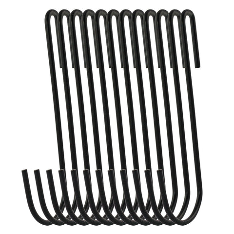 RuiLing 20-Pack 4.2 Inches Black Antistatic coating Steel S hook Cookware Universal Pot Rack Hooks Sturdy Hanging Hooks - Multiple uses for Kitchenware, Pots, Utensils, Plants, Towels