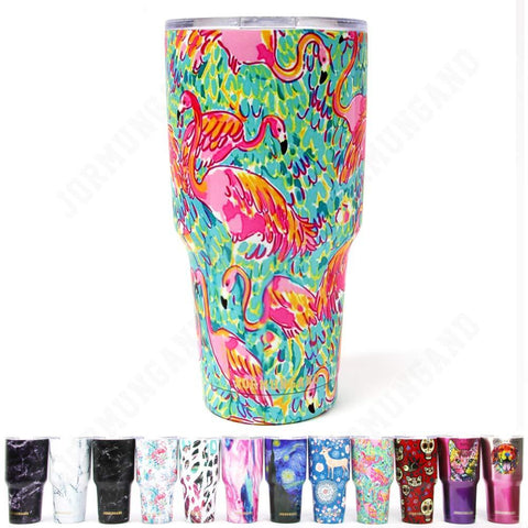 Jormungand Tumbler 30oz Stainless Steel Vacuum Insulated Travel Mug with Straw Friendly Lid Double Wall Coffee Cup Flamingo Green