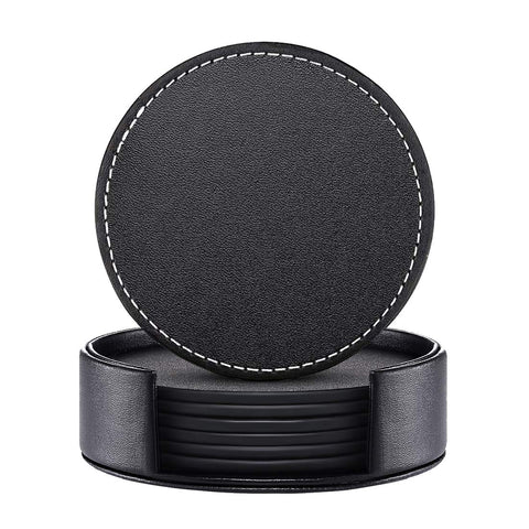Leather Coasters, Set of 6 PU coaster with Holder, Protect Furniture from Water (Black, Round)