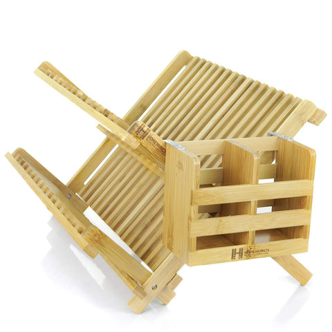 Bamboo Dish Drying Rack - Foldable And Collapsible Eco Friendly Plate Dryer With Detachable Utensil Holder