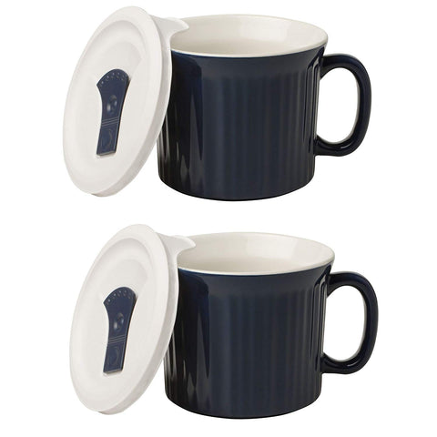 CorningWare Meal-Soup Mug with Lid Vented Microwave 20-oz- 2 Pack Premium Finish (Speckled Marine)