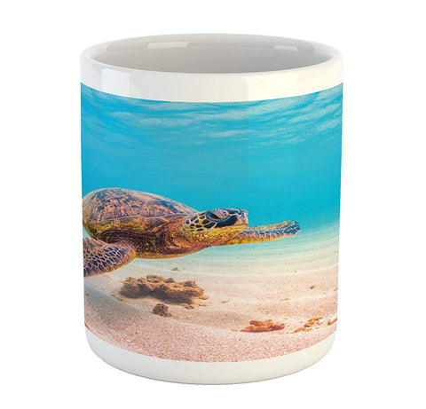 Ambesonne Turtle Mug, Hawaiian Green Sea Turtle Cruises in Warm Waters of The Pacific Ocean Photo, Printed Ceramic Coffee Mug Water Tea Drinks Cup, Aqua Cinnamon Brown