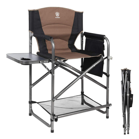 EVER ADVANCED Tall Directors Chair Bar Height Foldable Makeup Artist Chair with Side Table Cup Holder Side Storage Bag Footrest, Supports 300LBS (Black)