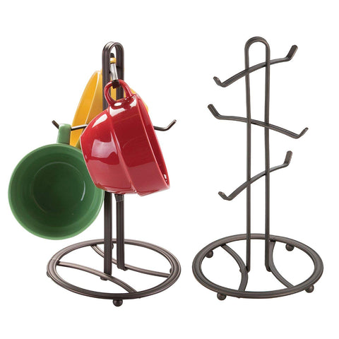 mDesign Decorative Kitchen Countertop Mug Rack Holder Stand for Hanging Coffee Mugs, Tea Cups - Freestanding Compact Mug Tree with 6 Hooks - Pack of 2, Steel Wire in Bronze Finish