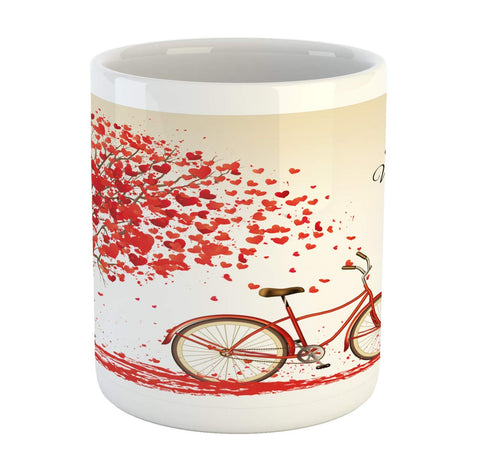 Ambesonne Valentines Day Mug, Romantic Tree with Blooming Hearts with Bike and Petals Vintage Artwork, Ceramic Coffee Mug Cup for Water Tea Drinks, Cream Vermilion