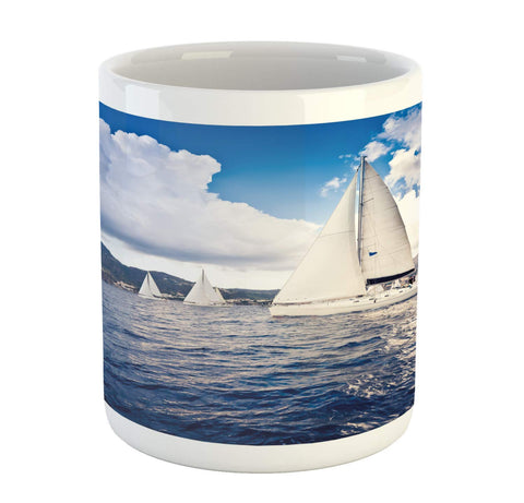 Ambesonne Nautical Mug, Sailing Boat and White Sails on Sea Waves with Cloudy Sky Adventure Photo, Ceramic Coffee Mug Cup for Water Tea Drinks, 11 oz, White Blue