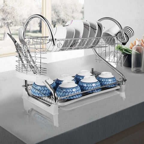 "2-Tier Dish Rack and DrainBoard, 20.2"" x15"" x10"" Kitchen Chrome Cup Dish Drying Rack Tray Cultery Dish Drainer"