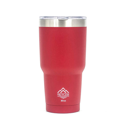 TRU FLASK Stainless Steel Double Wall Vacuum Insulated Travel Mug and Thermos – Ideal Coffee Mug and Tumbler for Hot and Cold Drinks - 30 OZ (RED)