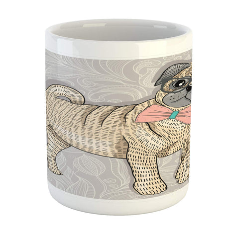 Ambesonne Pug Mug, Hipster Pug with Nerdy Glasses and Bow Tie Cartoon Design Funny, Printed Ceramic Coffee Mug Water Tea Drinks Cup, Pale Grey Pale Yellow Pale Pink