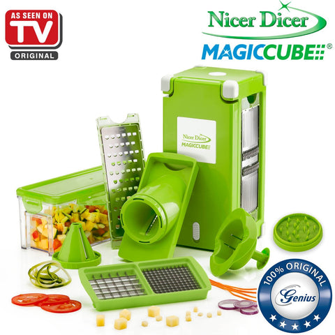 Nicer Dicer Magic Cube by Genius | 13 pieces | Fruit vegetable slicer | Food-Chopper PRO| Mandoline | Kitchen-Cutter Dicer | Stainless Steel |Spiralizer | Spiral Slicer | As seen on TV