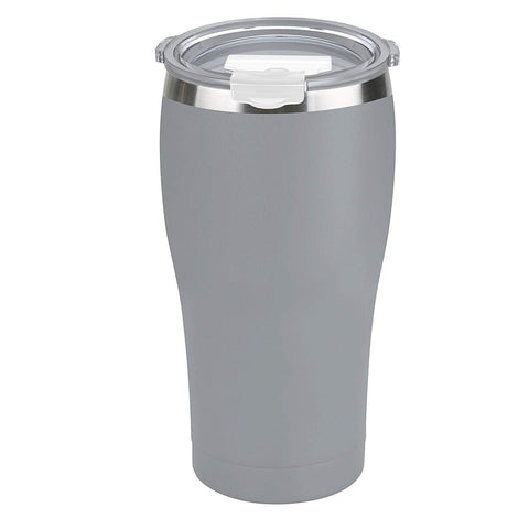 Tahoe Trails 20 oz Stainless Steel Tumbler Vacuum Insulated Double Wall Travel Cup with Lid, Gray