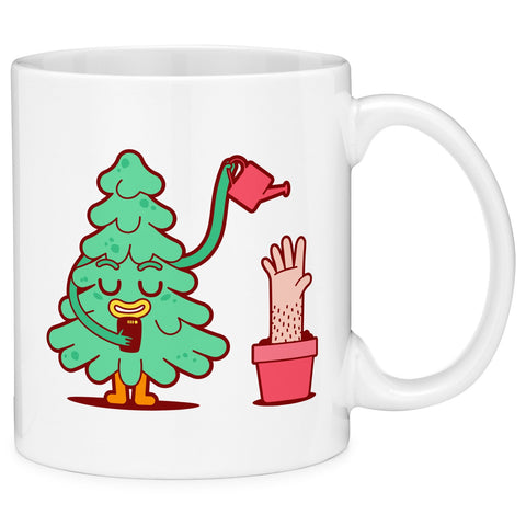 Mugvana Tree on Phone Watering Hand Plant Gift Coffee Mug (11oz)
