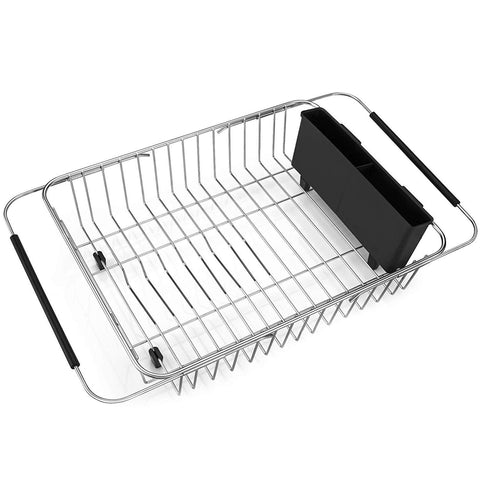 iPEGTOP Expandable Dish Drying Rack, Over the Sink Dish Rack, In Sink Or On Counter Dish Drainer with Black Utensil Holder Silverware Tray, Rustproof Stainless Steel for Kitchen