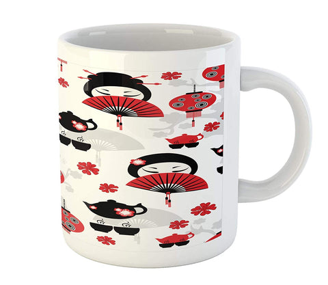 Lunarable Lantern Mug, Geisha with Japanese Fan Chinese Traditional Tea Pot Floral Graphic Design, Ceramic Coffee Mug Cup for Water Tea Drinks, 11 oz, Black Red