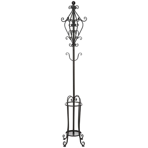 6' Freestanding Vintage Victorian Black Metal Scrollwork Coat Rack / Hat Hook Stand with Umbrella Holder