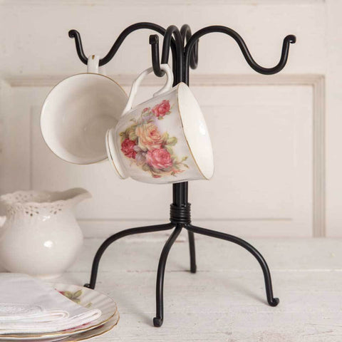 Four Hook Mug Rack - Black (Set of 2)