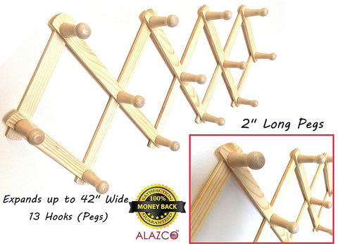 "1 ALAZCO Accordion Style Wood Expandable Wall Rack 13 Hooks (Pegs) For Hat, Cap, Belt, Umbrella Coffee Mug Jewelry Hanging - 2"" Long wooden Pegs"