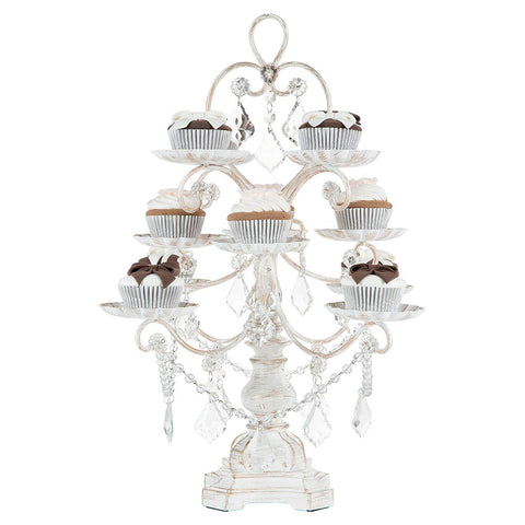 Madeleine Collection Antique White Washed 12-Piece Cupcake Stand, Metal Tiered Cake Dessert Display Tower Holder with Crystals