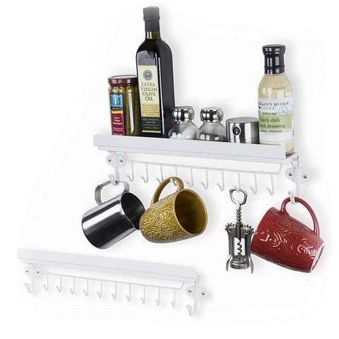Wallniture Kitchen Storage Steel Hanging Utensil Organizer Spice Rack with 12 Hooks White Set of 2