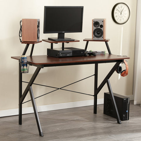 "Soges Gaming Desk 47"" Computer Desk Workstation Desk with Adjustable Support Panel, Cup Holder, Basket Hook, Walnut YX001-120-WA"