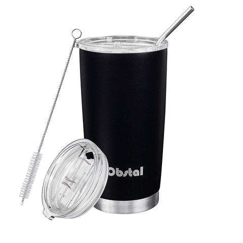 Obstal Insulated Coffee Tumbler Stainless Steel Double Wall Vacuum with Stainless Straw, 2 Clear Lids & Cleaning Brush for Office, Gift (20 oz, Black, Powder Coated)