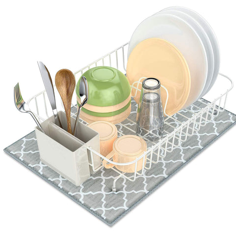 Dish Drying Rack, Packism Dish Drainer with Dish Drying Mat, Rustproof Dish Rack with Utensil Holder for Kitchen Countertop Wire Dish holder, White