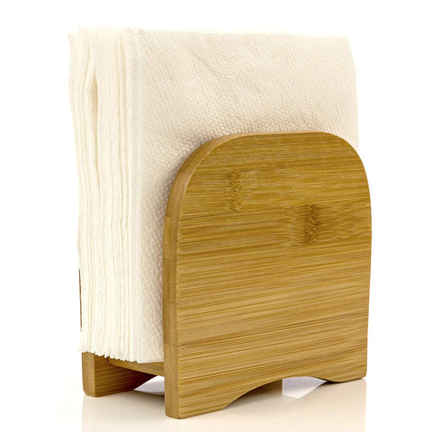 Napkin Holder Counter Top Made of Organic Bamboo Wood By Intriom Bamboo Collection
