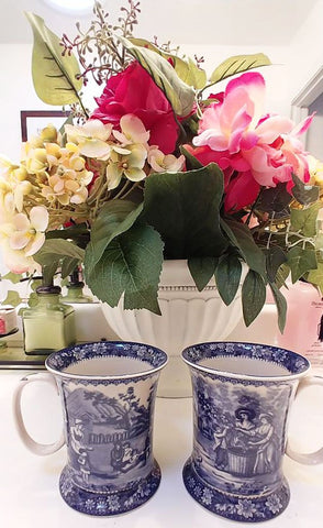 NEW - BEAUTIFUL BLUE FRENCH COUNTRY TOILE DESIGN MUGS - SET OF 2 - #2