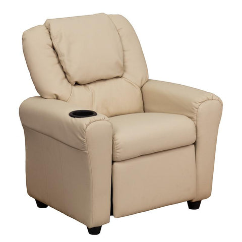 #14826 Contemporary Beige Vinyl Kids Recliner with Cup Holder and Headrest