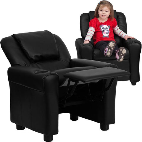 #14827 Contemporary Black Leather Kids Recliner with Cup Holder and Headrest