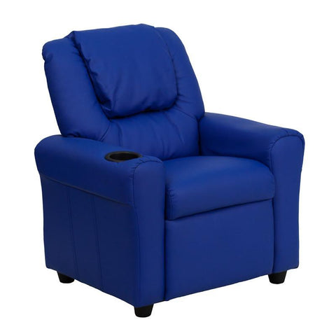 #14828 Contemporary Blue Vinyl Kids Recliner with Cup Holder and Headrest