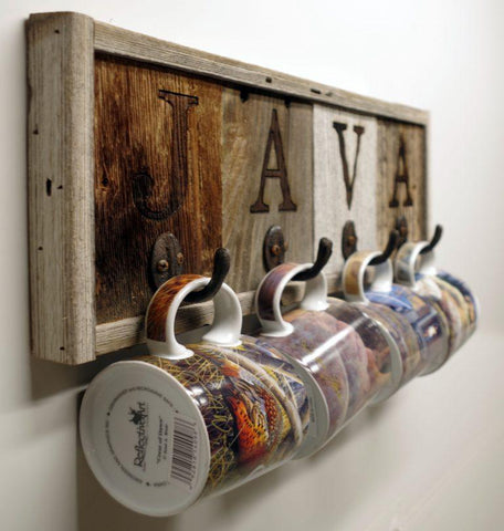 "Rustic Horizontal 4- Hook Barn Wood ""Java"" Mug Rack"