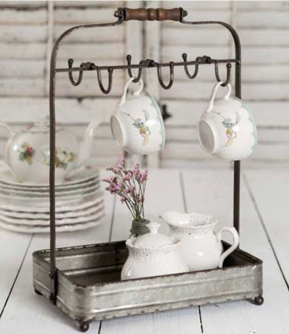 Table Top Mug Rack With Tray