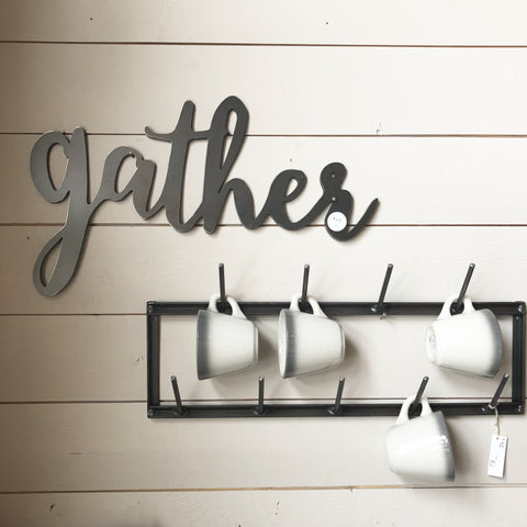 Wall-Mounted Farmhouse Mug Rack